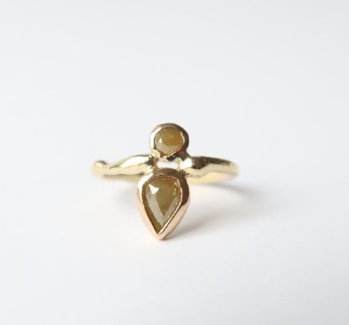 Druppel Diamant en Ronde Rosecut Diamant