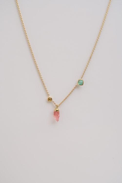 Rhodochrosiet, Diamant en Smaragd